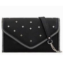 Purple Possum Black Shoulder Bag Clutch Bag Faux Leather Evening Bag Handbag