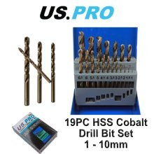 US PRO 19pc HSS Cobalt Metric Drill Bit Set 1 - 10mm 2643