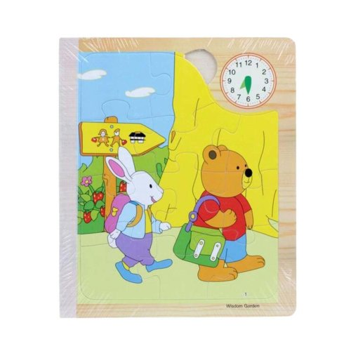 Creative Children Wooden Three-dimensional Bear's One Day Scenes Jigsaw Puzzle