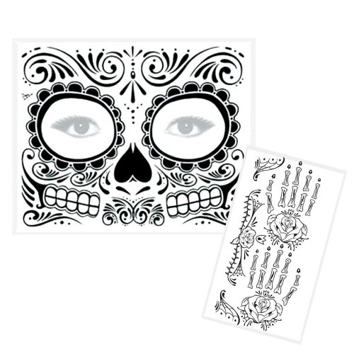Alpha Origins Day of the Dead Tattoo Set - Temporary Tattoo for Face and Hands (Unisex) - [Made in USA]