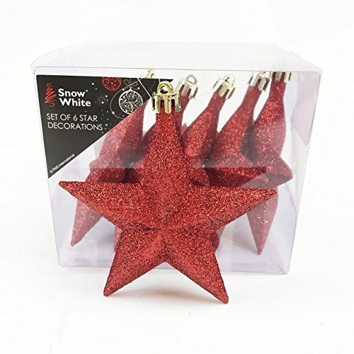 Glitter Christmas Tree Stars Red Indoor Hanging Decorations Xmas Ornaments Indoor Christmas Hanging Decorations Xmas Tree Ornaments Stars 6pcs