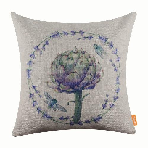 """18""""x18"""" Purple Lanveder Burlap Pillow Cover Cushion Cover"""