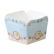 50 Pcs Paper Baking Cup Heat-Resistant Square Cupcake&Muffin Cup - Blue Elephant