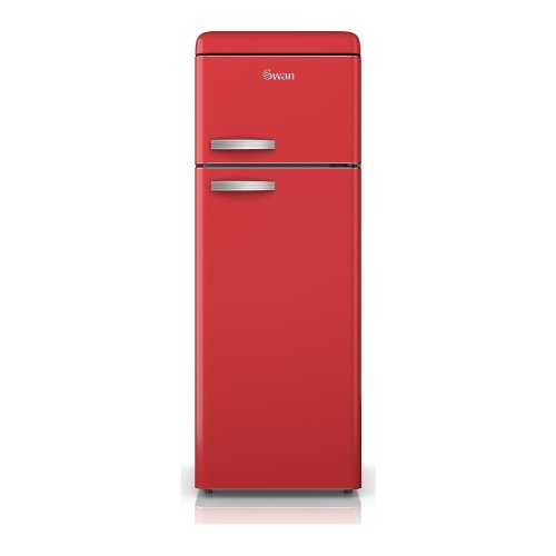 SWAN SR11010RN Fridge Freezer - Red, Red