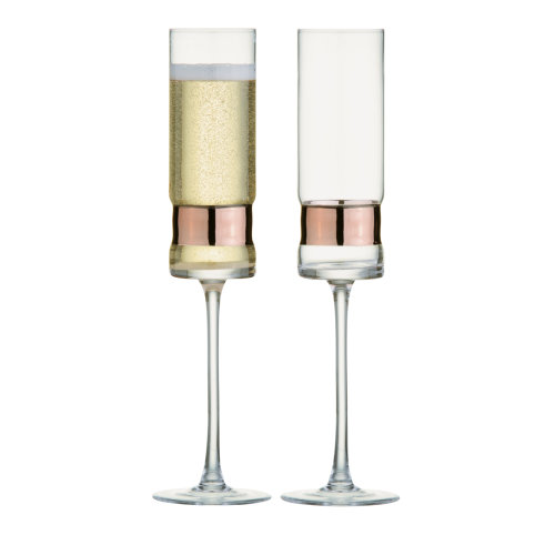 Anton Studio Soho Set of 2 Champagne Flutes, Bronze