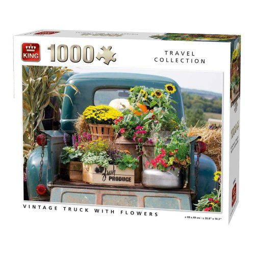 Vintage Truck With Flowers 1000 Piece Jigsaw Puzzle