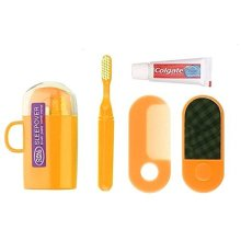 Orange Sleepover Kit - Travel Mug With Toothbrush, Toothpaste, Comb & Mirror - -  opal sleepover toothmug