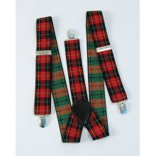 1980's Tartan Punk Braces -  braces tartan punk fancy dress accessory adult scottish red FANCY DRESS BRACES TARTAN PUNK 1970S 1980S ROCK MADNESS