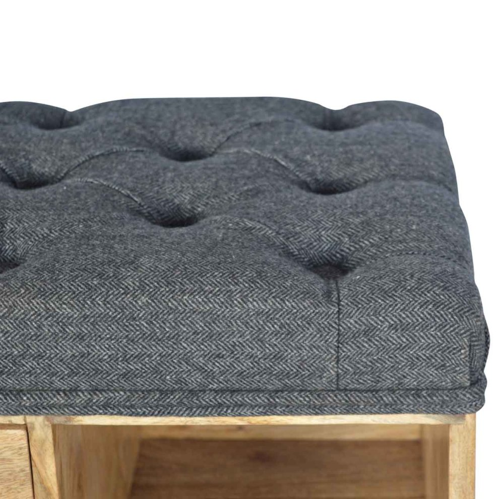 Shoe Storage Bench With Upholstered Black Tweed Seat On Onbuy