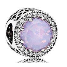Pandora Opalescent Pink Radiant Hearts Charm - 791725NOP