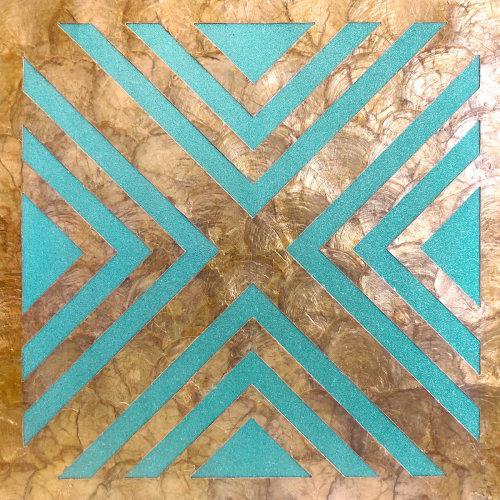 WallFace LU06-5 panel set shells glass beads mother-of-pearl turquoise bronze