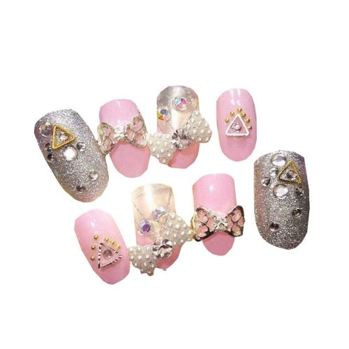 Pink Fake Diamond Decorated False Nails With Gum 24 Pcs