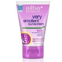 Alba Botanica Very Emollient, Kids Sunscreen SPF 45 4 oz (Pack of 3)