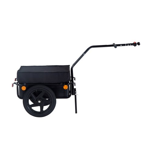 Homcom 70l Large Cargo Trailer Bicycle Carrier Luggage Transport Handle Cart W/ 2 Wheels