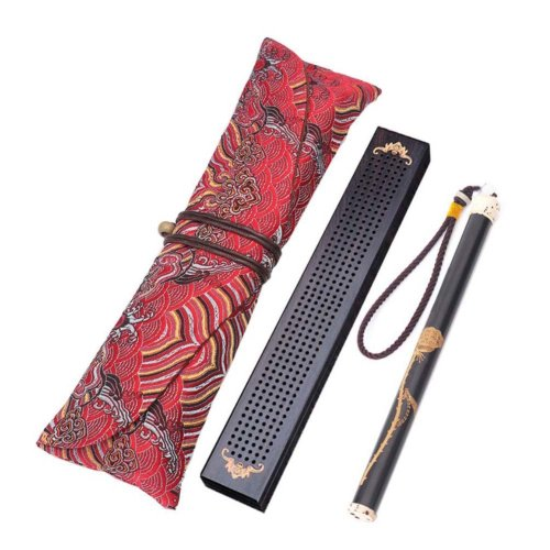 Wooden Incense Burner Box Ebony Wood Incense Stick Burner with Incense Tube, 04