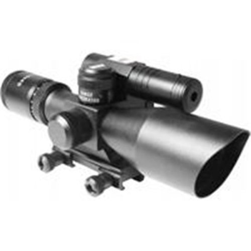 Aim Sports JDNG251040G-N 2.5-10 x 40 in. Dual Illuminated Scope with Green Laser, Mil-Dot Reticle - Matte Finish