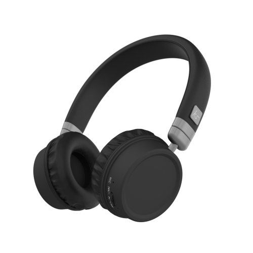 KitSound Harlem Wireless Bluetooth On-Ear Headphones with Mic - Black