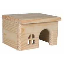 Trixie Wooden House For Hamsters, 15 x 12 x 15cm - Flat Roof Pine Hamsters Mice -  flat house wooden roof trixie pine hamsters mice gerbils hideaway