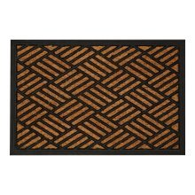 Geometric Design Doormat, Black & Brown