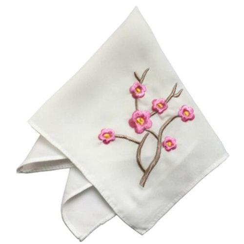 One White Elegant And Retro Pink Plum Flower Embroidered Handkerchief