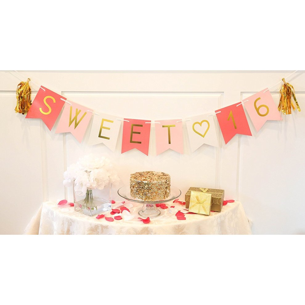 Sweet 16 Birthday Banner â Sweet Sixteen Decorations Party Favors