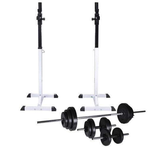 vidaXL Barbell Squat Rack with Barbell and Dumbbell Set 30.5kg Stand Holder