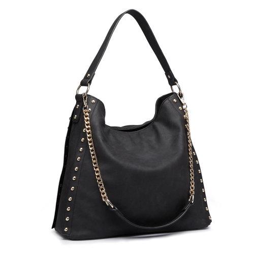 Miss Lulu Women's Studded Hobo Shoulder Tote Bag Handbag Black