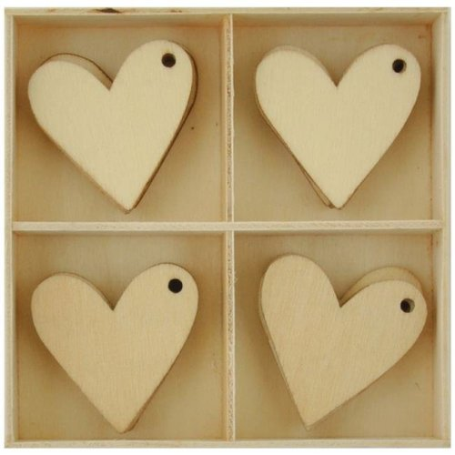 Hearts Lucky Dip Wood Flourish Pack - 20 per Pack