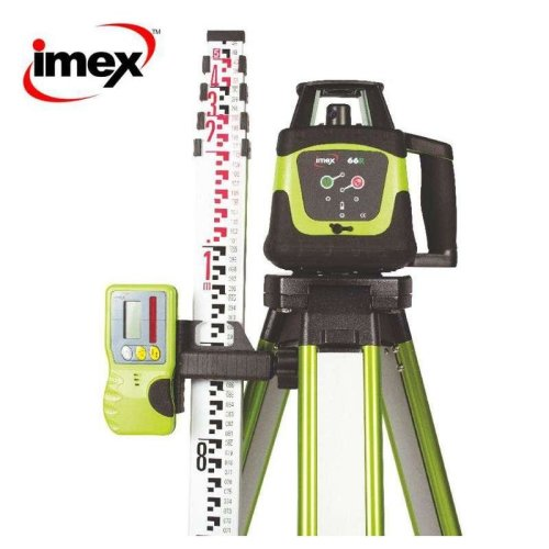 Imex 66R Rotating Laser with Receiver, Tripod & 5m Staff
