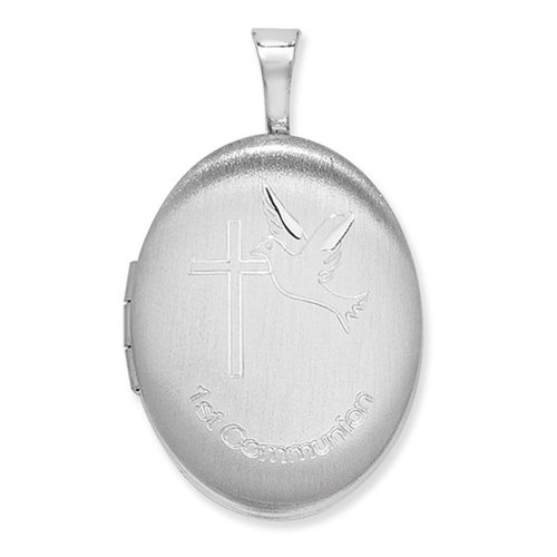 Childrens Sterling Silver 1st Communion Oval Locket On A Curb Necklace