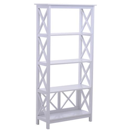 HOMCOM 5 Tier Multi-Use Shelf Freestanding Rack Organizer Display Shelves Bookcase Home Storage Utility Stand Multifunctional Holder