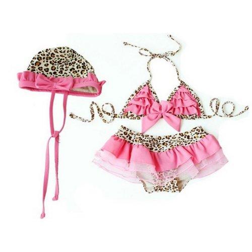 Cute Girls Bikini with Cap Leopard Print Beach Suit, 3T (90-100cm)