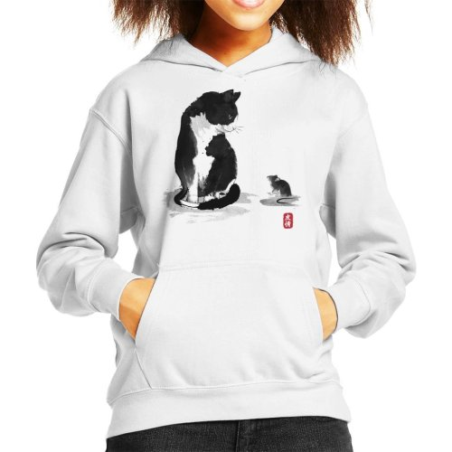 The Cat And Little Mouse Sumie Kid's Hooded Sweatshirt