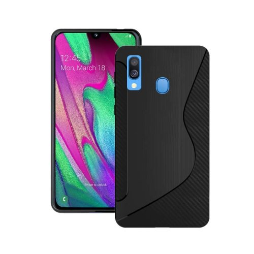 For Samsung Galaxy A40 2019 Silicone S-Line Gel TPU In Black Case Cover