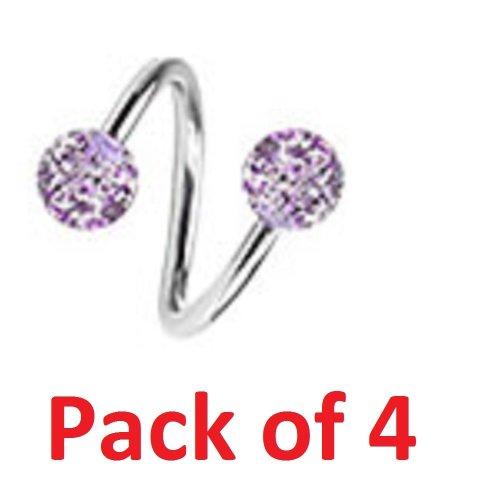 Pack of 4 Glitter Sparkle Twist Spiral Belly Bar