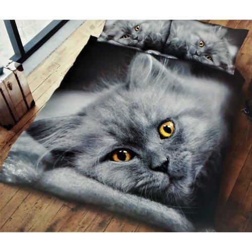 Cat 3D print cotton blend duvet cover bedding set