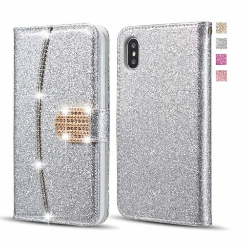 info for ea75f a52f2 UEEBAI Case for iPhone X XS, Premium Bling Glitter Glossy PU Leather Wallet  Case Flip Cover with [Diamond Buckle] [Card Slots] [Magnetic Clasp]...