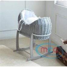 MCC Full Set Grey Wicker Moses Pod Cocoon Basket With White Waffle Dressing 100% Cotton & Rocking Stand