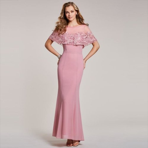 Dressv peach evening dress cheap scoop neck short sleeves mermaid floor length wedding party formal dress trumpet evening dress