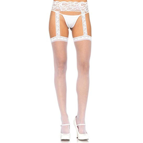 Leg Avenue Women's Sheer Thigh Highs, One Size, White
