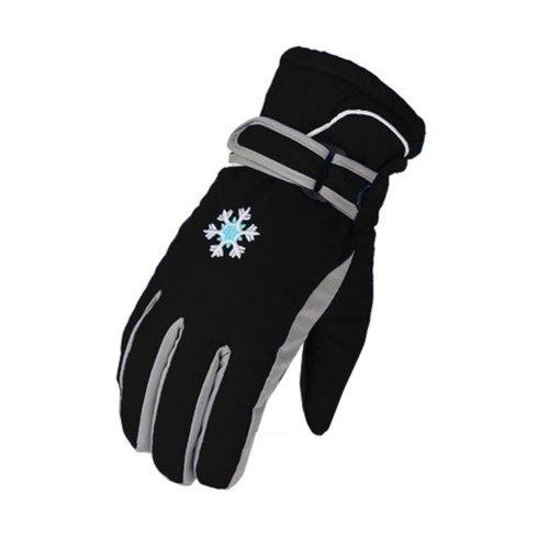 Children Warm  Waterproof Ski Gloves Skiing Gear Winter Sports Gloves Black