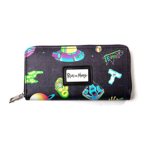 RICK AND MORTY All-over Print Wallet Purse with All-round Zip, Female, Black (GW300740RMT)