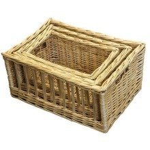 Set of 3 Open Weave Wicker Storage Baskets