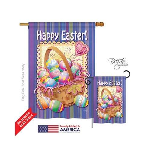 Breeze Decor 03040 Easter Easter Basket 2-Sided Vertical Impression House Flag - 28 x 40 in.
