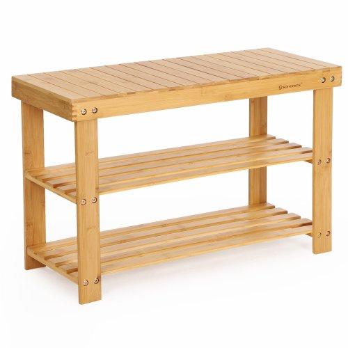 Wondrous Songmics 3 Tier Bamboo Shoe Bench Shoe Rack Storage Organizer 70 X 28 X 45 Cm Ideal For Hallway Bathroom Living Room And Corridor Lbs04N Inzonedesignstudio Interior Chair Design Inzonedesignstudiocom