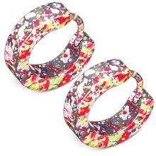 Urban Male Pink Stainless Steel Multi Colour Splatter Huggie Hoop Earrings
