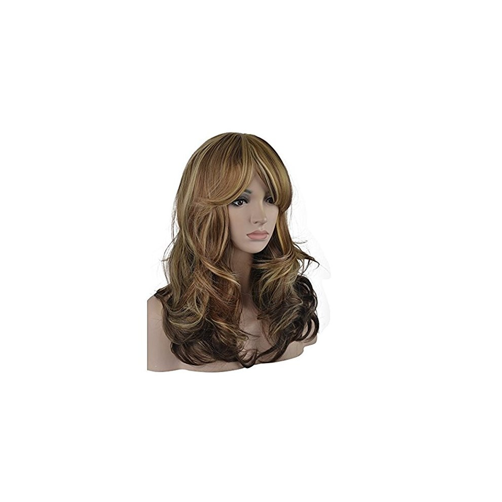 aed75c0bf Sexy Big Wave Inclined Bang Wig Long Curly Hair Mixed Blonde Auburn  Highlights Fluffy Air Volume. >