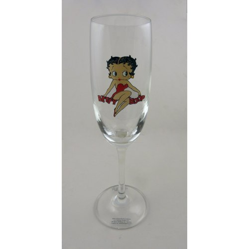 Betty Boop Wine & Prosecco Flute Glass - Betty Sitting On Name
