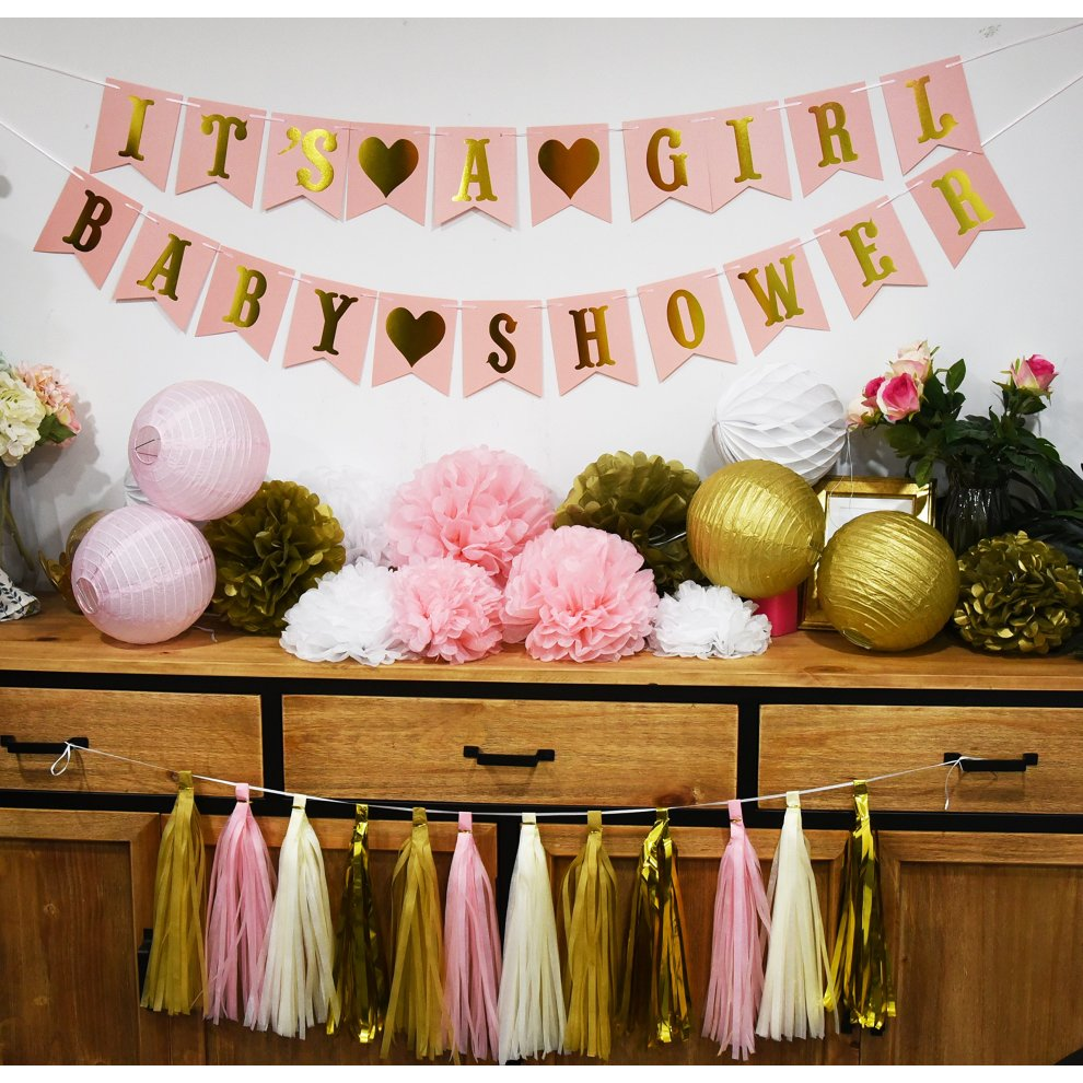 Pink And Gold Baby Shower Decorations For Girl Baby Shower -2257