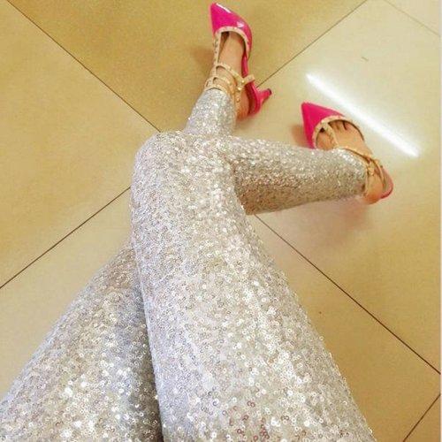 LASPERAL Women Leggings 2017 Sequin Streetwear Calca Feminina Punk Bling Trousers Shining Gold Black Silver Spangle Formal Pants